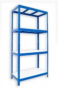 kovový regál Biedrax 60 x 90 x 180 cm - 4 police lamino x 275 kg, modrý