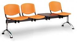 Plastová lavice do čekáren ISO Biedrax LC9711O - podnož chromovaná