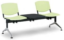 Plastová lavice do čekáren Smile Biedrax LC9964Z - podnož leštěný hliník