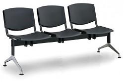 Plastová lavice do čekáren Smile Biedrax LC9958C - podnož leštěný hliník