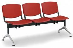 Plastová lavice do čekáren Smile Biedrax LC9958CV - podnož leštěný hliník