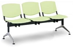 Plastová lavice do čekáren Smile Biedrax LC9958Z - podnož leštěný hliník