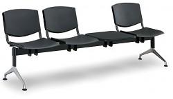 Plastová lavice do čekáren Smile Biedrax LC9970C - podnož leštěný hliník