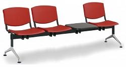 Plastová lavice do čekáren Smile Biedrax LC9970CV - podnož leštěný hliník