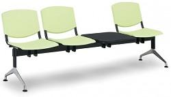 Plastová lavice do čekáren Smile Biedrax LC9970Z - podnož leštěný hliník