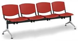 Plastová lavice do čekáren Smile Biedrax LC9976CV - podnož leštěný hliník