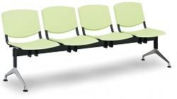 Plastová lavice do čekáren Smile Biedrax LC9976Z - podnož leštěný hliník