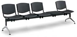 Plastová lavice do čekáren Smile Biedrax LC9982C - podnož leštěný hliník