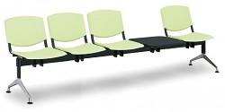 Plastová lavice do čekáren Smile Biedrax LC9982Z - podnož leštěný hliník