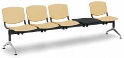 Plastová lavice do čekáren Smile Biedrax LC9982ZL - podnož leštěný hliník