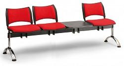 Čalouněná lavice do čekáren Smart Biedrax LC9221CV - podnož chromovaná