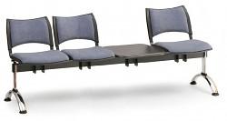 Čalouněná lavice do čekáren Smart Biedrax LC9221S - podnož chromovaná