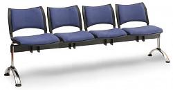 Čalouněná lavice do čekáren Smart Biedrax LC9222M - podnož chromovaná