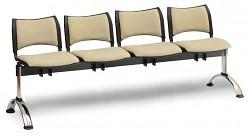 Čalouněná lavice do čekáren Smart Biedrax LC9222Z - podnož chromovaná