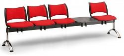Čalouněná lavice do čekáren Smart Biedrax LC9223CV - podnož chromovaná