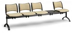 Čalouněná lavice do čekáren Smart Biedrax LC9223Z - podnož chromovaná