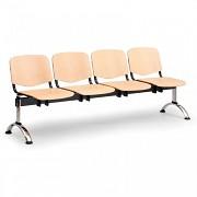Dřevěná lavice do čekáren ISO Biedrax LC9749 - podnož chromovaná