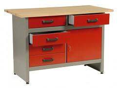 pracovní stůl do dílny, se zásuvkami - Biedrax PS5802CV - červený