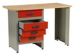 pracovní stůl do dílny, se zásuvkami - Biedrax PS5803CV - červený