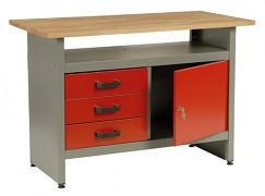 pracovní stůl do dílny, se zásuvkami - Biedrax PS5804CV - červený