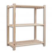 regál dřevěný laťkový 30 x 75 x 90 cm, 3 police - přírodní
