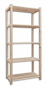 regál dřevěný laťkový 50 x 75 x 170 cm, 5 polic - přírodní