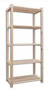 regál dřevěný laťkový 60 x 75 x 170 cm, 5 polic - přírodní