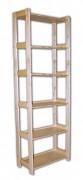 regál dřevěný masivní 33,5 x 45 x 204 cm, 6 polic