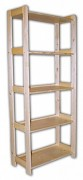 regál dřevěný masivní 43,5 x 68 x 166 cm, 5 polic