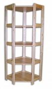 regál dřevěný masivní - rohový 60 x 60 x 166 cm, 5 polic