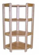 regál dřevěný masivní - rohový 70 x 70 x 127,5 cm, 4 police