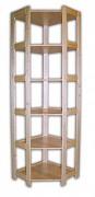 regál dřevěný masivní - rohový 70 x 70 x 204 cm, 6 polic