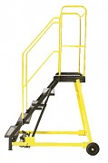 žebřík pojízdný plošinový schody vodovzdorná překližka, 9 stupňů - ZP4609 Biedrax