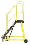 žebřík pojízdný plošinový schody plech s protiskluzovou páskou, 6 stupňů - ZP4604 Biedrax