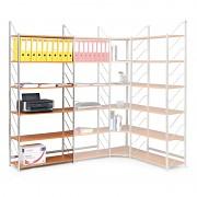 regál do kanceláře, základní regál, černý, police šedá, šířka 80 cm - Biedrax RK4176