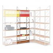 regál do kanceláře, základní regál, stříbrný, police třešeň, šířka 60 cm - Biedrax RK4183