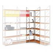 regál do kanceláře, rohový regál, stříbrný, police šedá - Biedrax RK4200