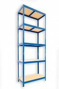 kovový regál Biedrax 45 x 90 x 210 cm - 5 polic x 175kg, modrý