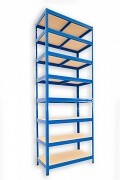 kovový regál Biedrax 45 x 90 x 270 cm - 8 polic x 175kg, modrý