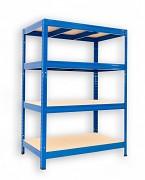 kovový regál Biedrax 45 x 120 x 120 cm - 4 police x 175kg, modrý