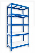 kovový regál Biedrax 45 x 120 x 180 cm - 5 polic lamino x 175 kg, modrý
