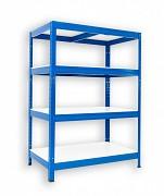 kovový regál Biedrax 60 x 90 x 90 cm - 4 police lamino x 175 kg, modrý