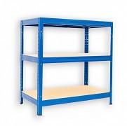 kovový regál Biedrax 35 x 90 x 90 cm - 3 police x 275kg, modrý
