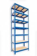kovový regál Biedrax 35 x 90 x 240 cm - 7 polic x 275kg, modrý