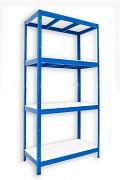 kovový regál Biedrax 35 x 90 x 180 cm - 4 police lamino x 275 kg, modrý