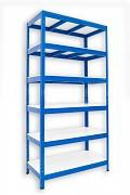kovový regál Biedrax 35 x 90 x 180 cm - 6 polic lamino x 275 kg, modrý