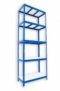 kovový regál Biedrax 35 x 90 x 240 cm - 5 polic lamino x 275 kg, modrý