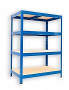 kovový regál Biedrax 35 x 90 x 90 cm - 4 police x 175kg, modrý