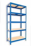 kovový regál Biedrax 35 x 90 x 180 cm - 5 polic x 175kg, modrý