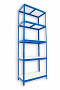 kovový regál Biedrax 35 x 90 x 210 cm - 5 polic lamino x 175 kg, modrý